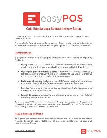 Factsheet easyPOS Caja Rápida Restaurantes y Bares