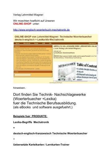 ONLINE-SHOP  fuer Technik Nachschlagewerke (englisch Woerterbuecher Lexika Mechatronik