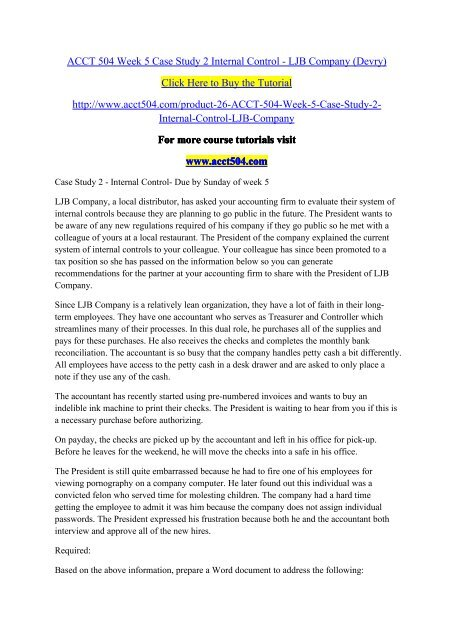 acct504 case study 2 internal control
