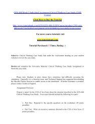 GEN 480 Week 3 Individual Assignment Critical Thinking Case Study/Tutorialrank