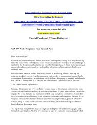 GEN 499 Week 5 Assignment Final Research Paper/Tutorialrank