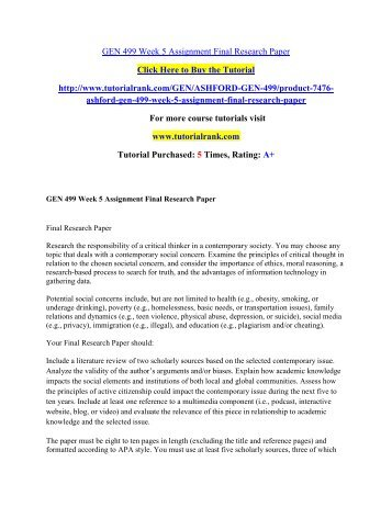 GEN 499 Week 5 Assignment Final Research Paper/Tutorialrank