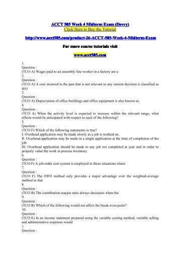 ACCT 505 Week 4 Midterm Exam / acct505dotcom