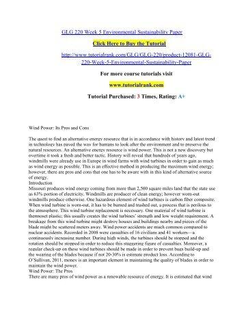 GLG 220 Week 5 Environmental Sustainability Paper/Tutorialrank