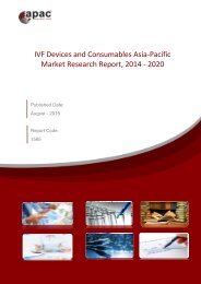 IVF Devices and Consumables Asia-Pacific Market Research Report, 2014 – 2020