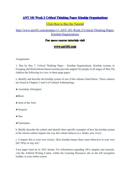 What Is A Thesis Of An Essay Ant  Week  Critical Thinking Paper Kinship Organizationsantdotcom Writing A High School Essay also Business Essay Examples Ant  Week  Critical Thinking Paper Kinship Organizations  The Yellow Wallpaper Analysis Essay