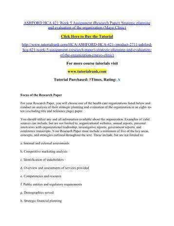 ASHFORD HCA 421 Week 5 Assignment/Tutorialrank