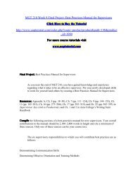 MGT 210 Week 9 Final Project Best Practices Manual for Supervisors