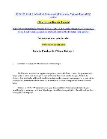 hcs 325 motivational methods paper