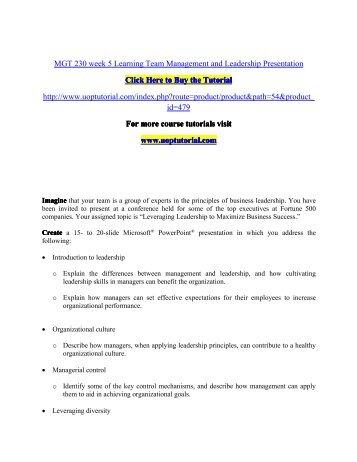 MGT 230 week 5 Learning Team Management and Leadership Presentation.pdf