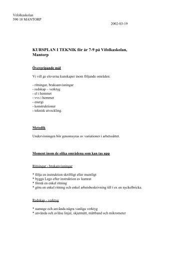 KURSPLAN I TEKNIK för år 7-9 på Vifolkaskolan, Mantorp