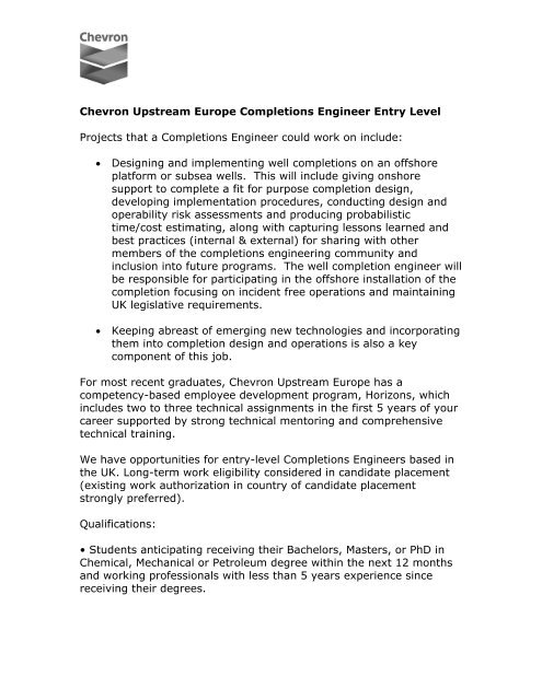 Chevron Upstream Europe Completions Engineer Entry Level