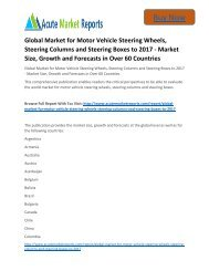 Global Motor Vehicle Steering Wheels, Steering Columns and Steering Boxes to 2017 Market Strategies and Forecast Till,: Acute Market Reports