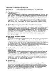Werkgroepen Studiedag 9 november 2013 Subthema A ...