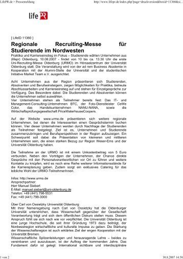 Regionale Recruiting-Messe für Studierende im Nordwesten