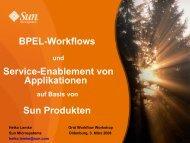 BPEL-Workflows Service-Enablement von Applikationen Sun Produkten