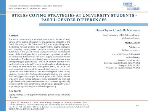 Sex differences coping with stress student