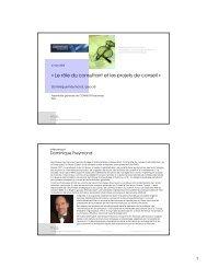 « Le rôle du consultant et les projets de conseil » l'administration