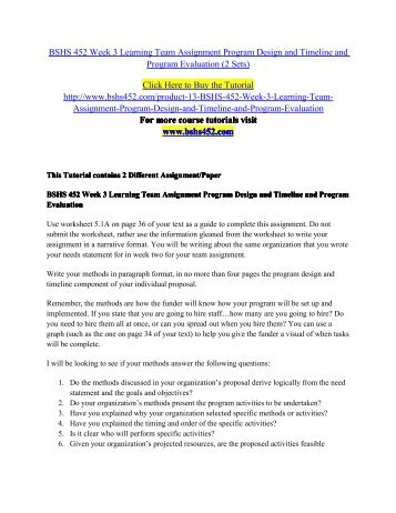 bshs 452 week 3 For more course tutorials visit wwwtutorialrankcom tutorial purchased: 3 times, rating: a+ bshs 452 week 2 learning team assignment assessment process and needs.