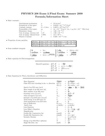PHYSICS 208 Exam 3/Final Exam: Summer 2009 Formula ...