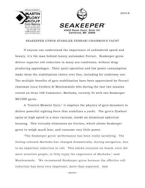 Seakeeper Gyros Stabilize Ferrari Chairman's Yacht