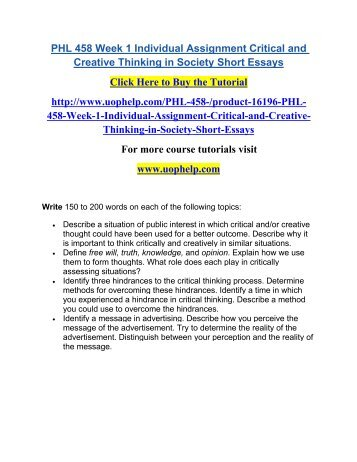 Critical and Creative Thinking in Society Essay