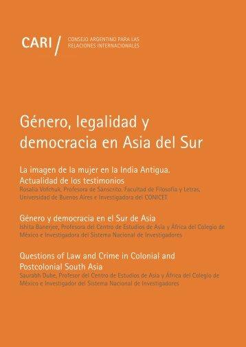 GÉNERO LEGALIDAD Y DEMOCRACIA EN ASIA DEL SUR