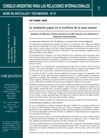 La mediación papal en el conflicto de la zona austral - Consejo ...
