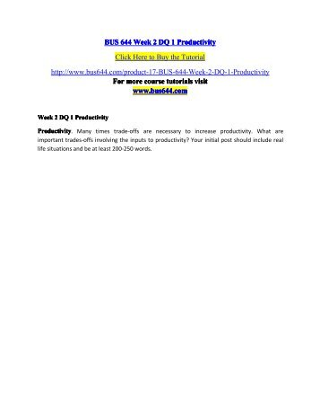 BUS 644 Week 2 DQ 1 Productivity - bus644dotcom