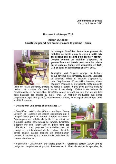 Indoor-Outdoor: Grosfillex prend des couleurs avec la gamme ...