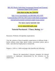 BIS 303 Week 4 Individual Assignment Internal and External Customers Paper/TutorialRank