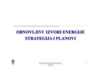 OBNOVLJIVI IZVORI ENERGIJE STRATEGIJA I PLANOVI