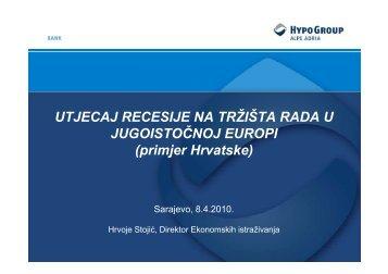 UTJECAJ RECESIJE NA TRŽIŠTA RADA U JUGOISTOČNOJ EUROPI (primjer Hrvatske)