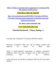 BIS 375 Week 2 Learning Team Assignment E-Commerce Web Site Analysis /TutorialRank