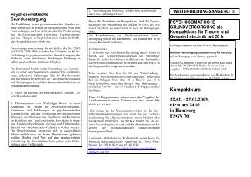 Kurs für psychosomatische Grundversorgung als Kompaktkurs 22.02.