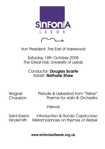 Hon President: The  Earl of Harewood Saturday 18th October 2008 ...
