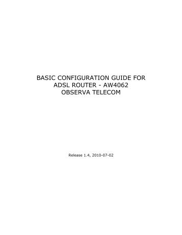 basic configuration guide for adsl router - aw4062 ... - Movistar