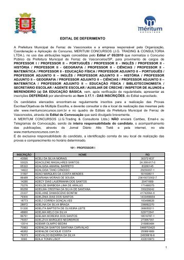 Edital de Deferimento de Inscrições - Meritum Concursos