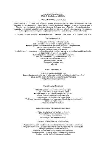 Katalog informacija Općinskog suda u Šibeniku