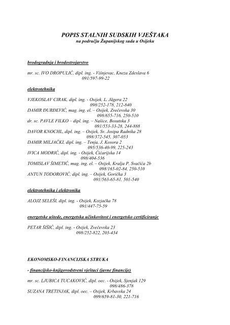 Popis Stalnih Sudskih Vjestaka