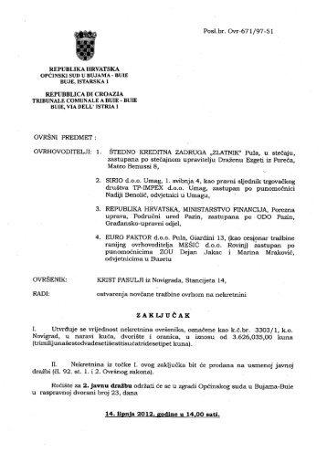 Posl.br. Ovr-671/97-51 REPUBLIKA HRVAT SKA OPCINSKI SUD U ...