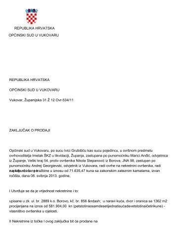 REPUBLIKA HRVATSKA OPĆINSKI SUD U VUKOVARU ...