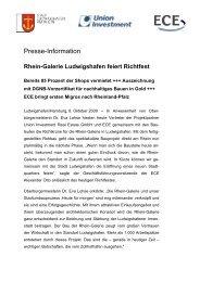 Rhein-Galerie Ludwigshafen feiert Richtfest - Union Investment