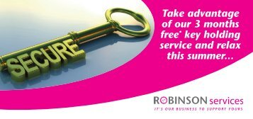 Take advantage of our 3 months free* key holding service and relax ...
