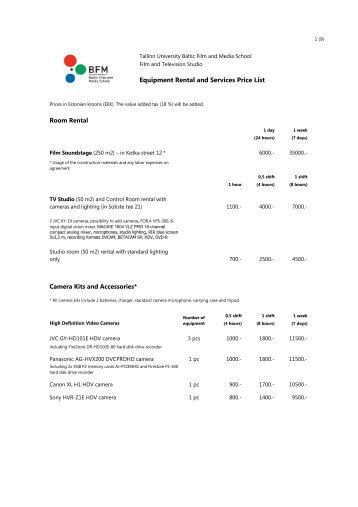 Equipment Rental and Services Price List