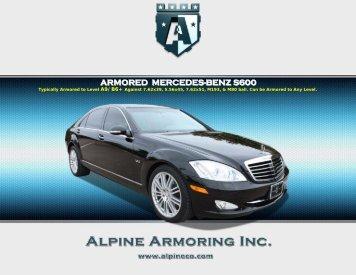 ARMORED MERCEDES-BENZ S600 -  Alpine Armoring Inc.