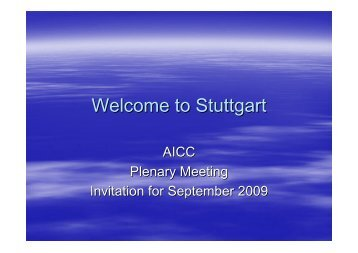 Welcome to Stuttgart  - AICC - Aviation Industry CBT Committee