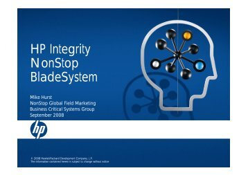 HP Integrity NonStop BladeSystem