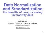 Data Normalization and Standardization - Ben Bolstad