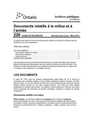 Guide de recherche 226 : Documents relatifs à la milice et - Archives ...